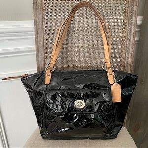 Coach Patent Leather Signature Handbag
